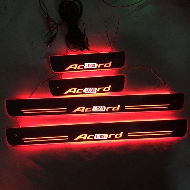 4 Stks/set Toepassing Op Accord Led Verlichting Drempel Verlichting Drempel Slijtvaste Plaat Welkom Pedaal Decoratie Voor Hondaa