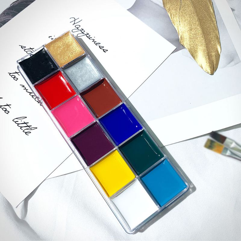 12 Colors Non Toxic Face Body Paint Water Soluble Oil Painting Tattoo Halloween P0RC