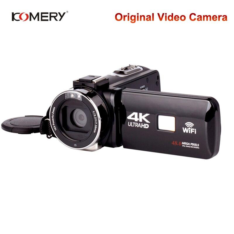 Подлинная видеокамера KOMERY 4K с Wi-Fi и ночным видением, 3,0-дюймовый HD сенсорный экран, с таймером, для фотосъемки, видеокамеры, три года гарантии
