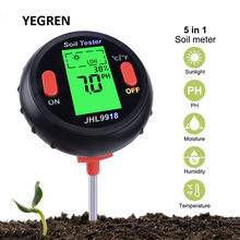 Portable 5 in 1 Soil Tester PH Meter Garden Plants Farm Soil Moisture Content Tester Sunlight Temperature Humidity Detector 0 5 mg formaldehyde detector compact portable formaldehyde tester monitor gas analyzers temperature humidity meter