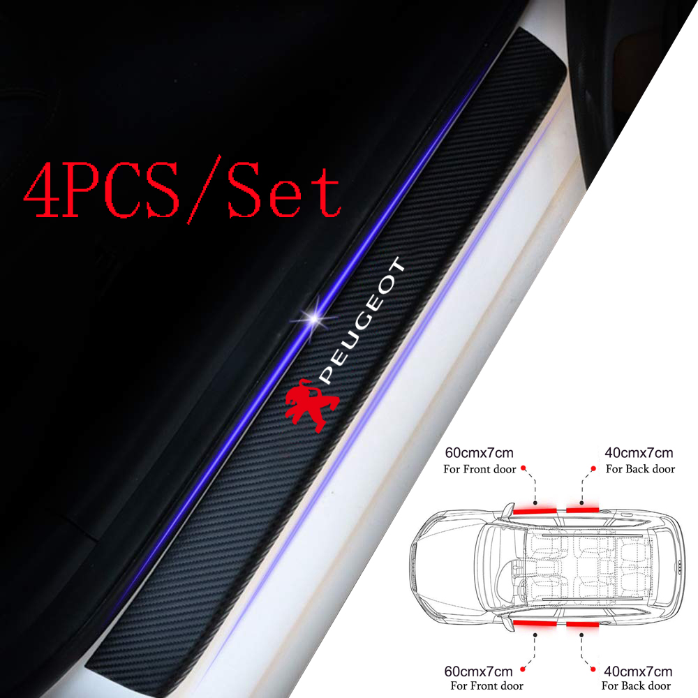 4PCS Carbon Fiber Protector Car Door Sill Plate Cover Sticker For Peugeot 308 307 206 308 407 207 3008 208 508 2008 Accessories