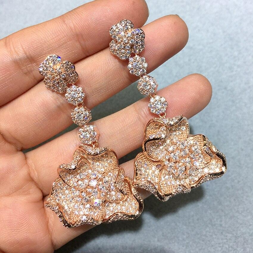 Vintage fleur pendentif boucles d'oreilles couleur or boucles d'oreilles pour femmes mariages fête irrégulière pendaison boucle d'oreille bijoux cadeau