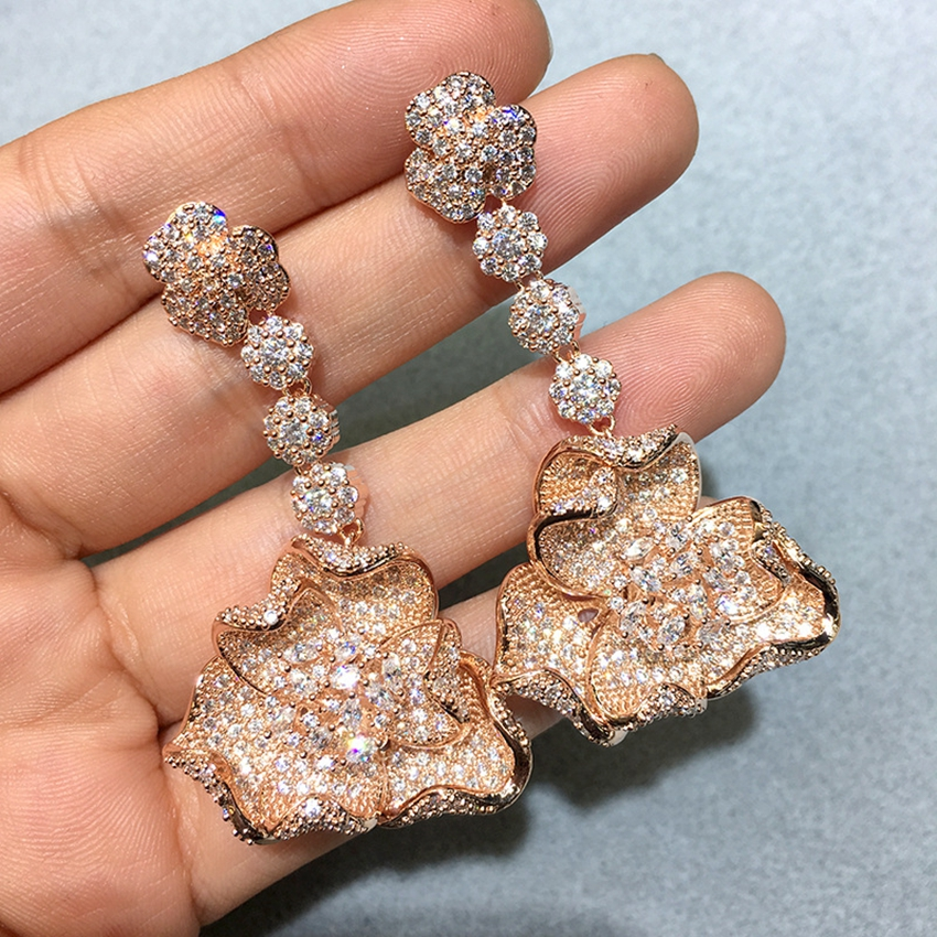 Vintage Flower Pendant Earrings Gold Color Statement Earings For Women Weddings Party Irregular Dangle Drop Earring Jewelry Gift