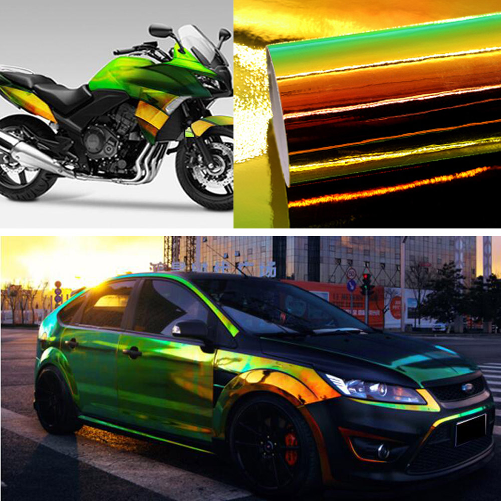 Green Color Change Chameleon Car Stickers Glossy DIY Car Interior Sticker Films Vinyl Car Wrap Sticker Sheet Motorcycle Stickers(China)