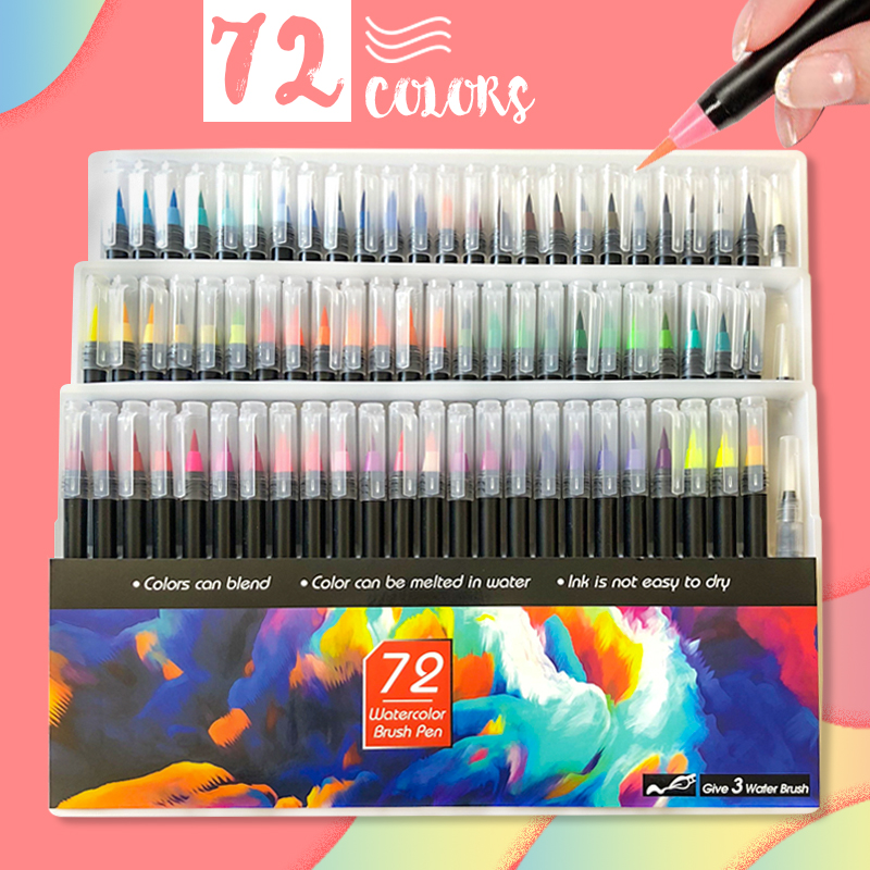 72PCS Colors Art Marker Watercolor Brush Pens For School Art Supplies Stationery Drawing Coloring Books Manga Calligraphy