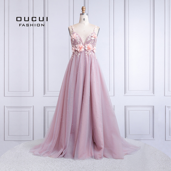 Sexy V Neck Evening Dress Long 2019 Backless Robe De Soiree Prom Dresses Wedding A-Line Lace Flower Pearl Ball Gown OL103424