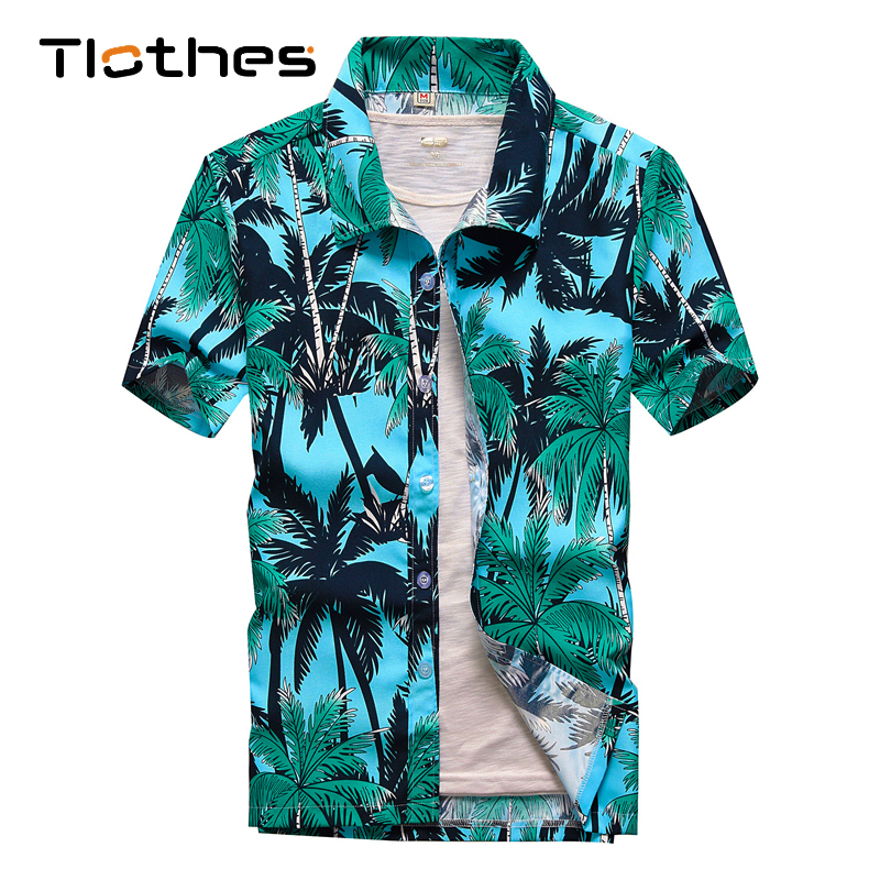 26 Colors Summer Fashion Mens Hawaiian Shirts Short Sleeve Button Coconut Tree Print Casual Beach Aloha Shirt Plus Size 5XL