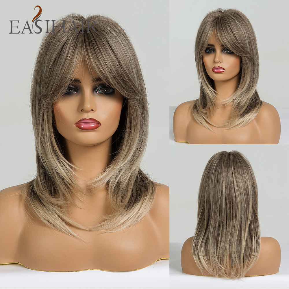 EASIHAIR Midium Ombre Color Synthetic Wigs For Black Women Wigs With Bangs Layered Cosplay Wigs Heat Resistant Medium Length Wig