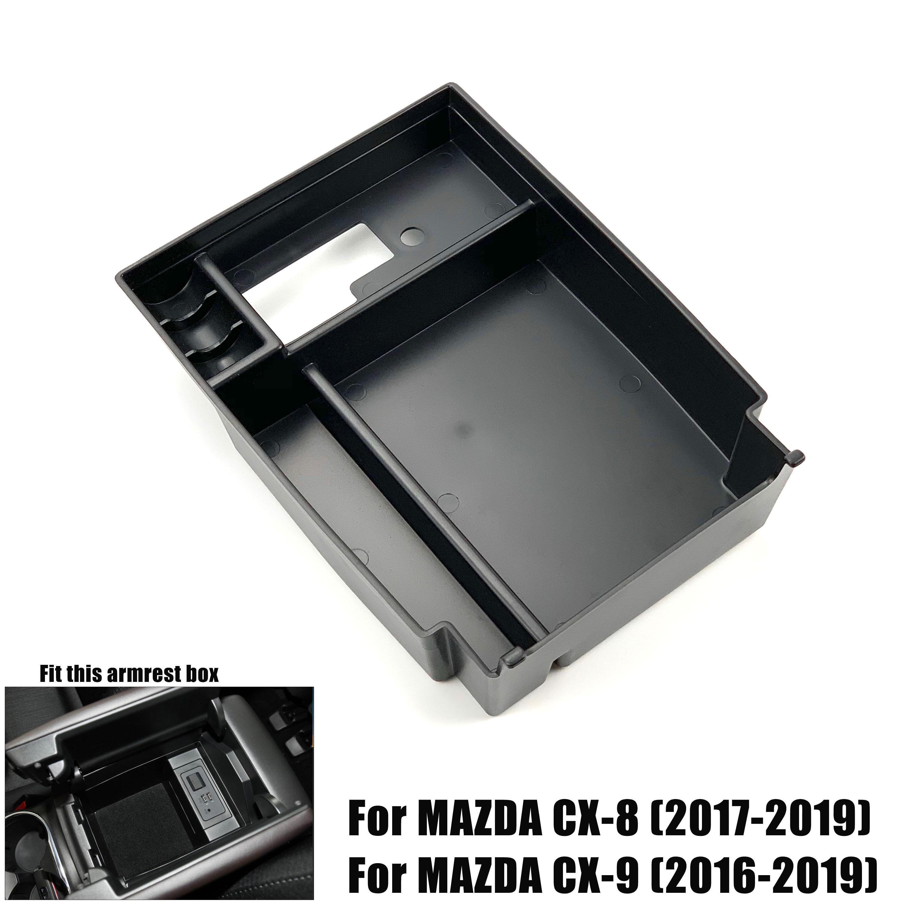 Black Car Armrest Storage Box Car Central Interior Tray for Mazda CX-5 2017-2019