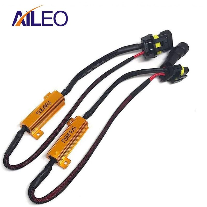 2x H8 50W Error Free Load Resistors decoder Warning Canceller Wiring Harness