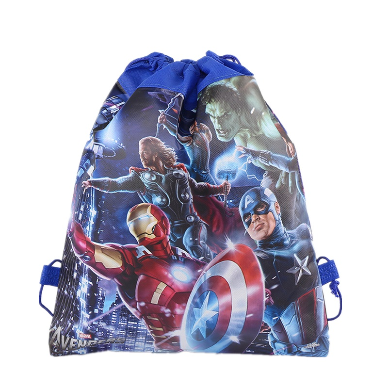 Avengers Drawstring Backpack Non-woven Fabric Spiderman Batman Mario Drawstring Bag Kids Birthday Party Toys Gift Bag School Bag
