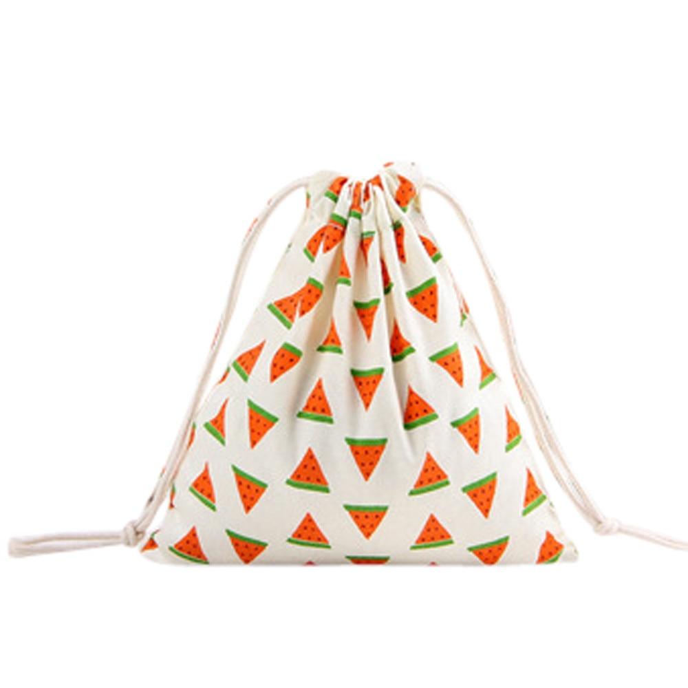 Drawstring Bag Women 3 Size Small Medium Large Unisex Cartoon Printing Linen Drawstring Bag Travel Backpack Packet Size #35