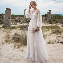Charming Sexy Women Long Sleeve Applique Lace Tulle Boho Wedding Dresses Vintage Bridal Gown Senior Customize