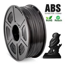 Filamento do abs 1.75mm para a impressora 3d 1kg/2.2lbs 100% nenhuma bolha excelente qualidade preto plástico abs filamento para crianças rabiscar