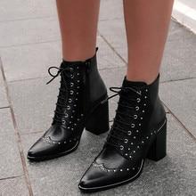 Vintage remache puntiagudas Botines mujer vaquero corto arranque Primavera Verano encaje alto tacón zapatos de cuero mujer Sexy Botas Knight