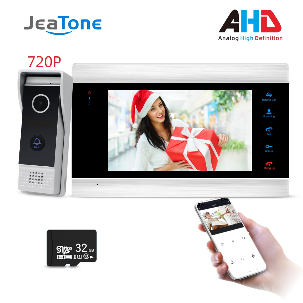 720P/AHD Intercom 4 Wired 7'' Video Door Phone Security System Voice Message/Motion Detection/MP4 Player, Support Remote Control