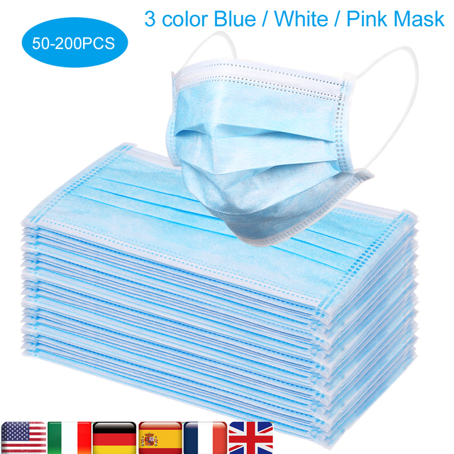 CZ US Stock 50 200pcs Non woven Protective Mask Disposable Masks Anti PM2.5 Particle Face Cover Breathable Dustproof Mouth Masks