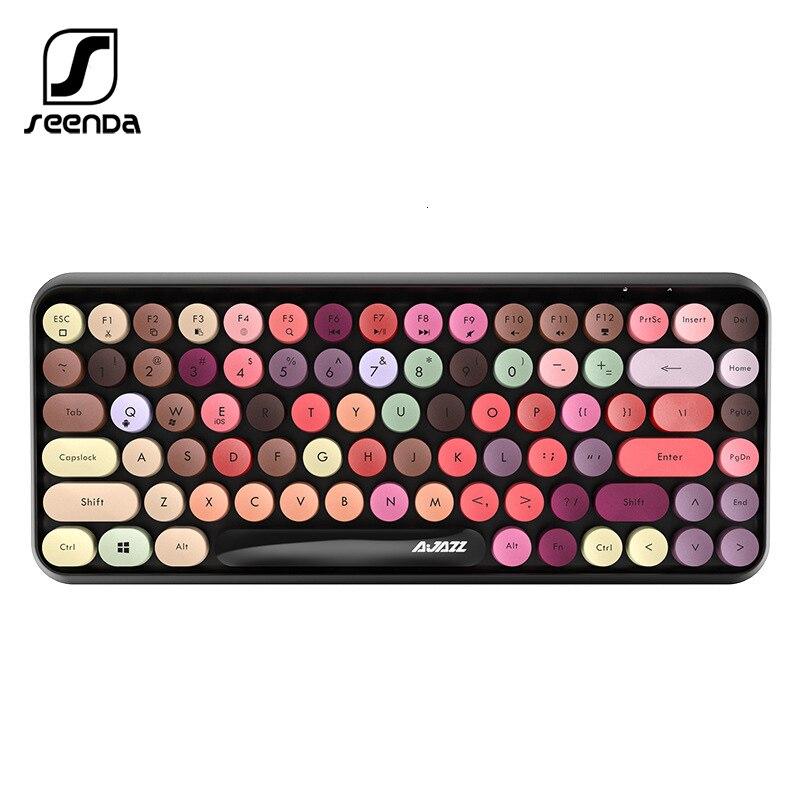 Купить seenda bluetooth клавиатура ретро пластик панель красочные границы