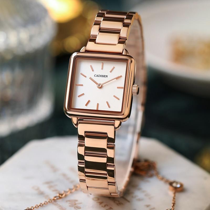 CADISEN 2020 Luxury Brand Ladies Watch Fashion Women Watches Square Waterproof Quartz Watch Rose Gold Clock Female Wristwatch