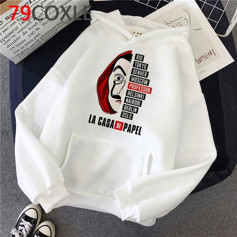La Casa De Papel Hoodies Men Money Heist Funny Cartoon Graphic Hooded House Of Paper Kawaii Bella Ciao Top Sweatshirt Male
