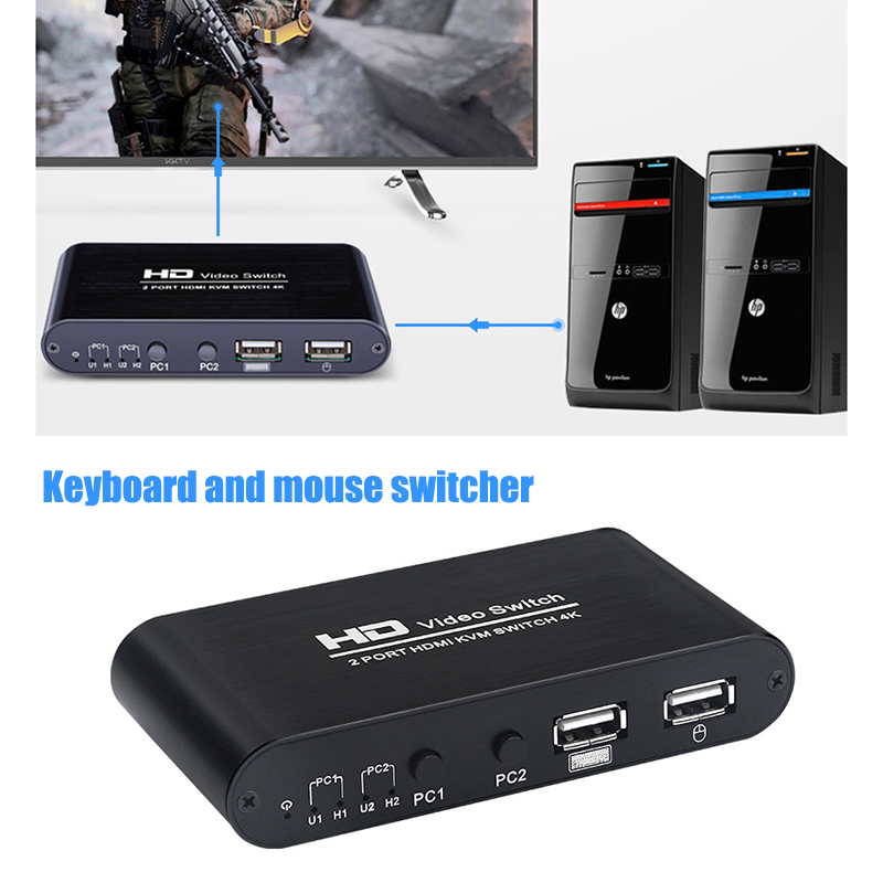 2 Port 4K USB HDMI KVM Switcher Video Display Hot Key Switch For PC Laptop DJA99