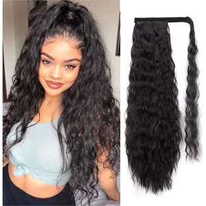 Synthetic Long Corn Wave Magic Paste Ponytail Extension Clip in Claw Hair Extensions Hairpieces For Women Dark Brown Color(China)