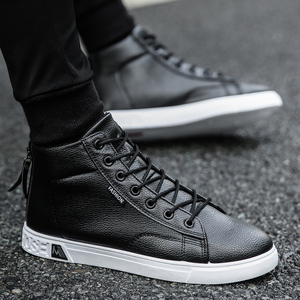 Image 4 - Autumn and Winter High top Shoes Wild Fashion Keep Warm  PU Mens Casual Shoes Trend Wear Resistant Sloe Mens Fasthion Sneakers