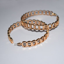 Punk Gold Color Metal Hoop Earrings For Women Round Big Circle Exaggerated Hollow Wide Statement Earring Jewelry(China)