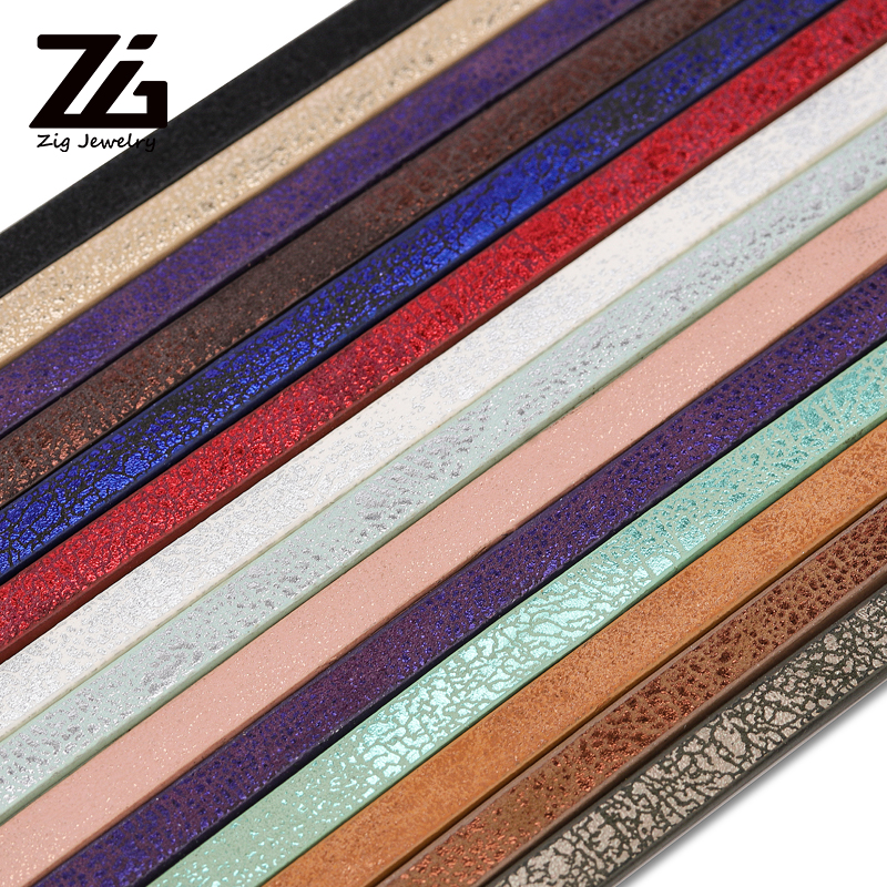 1 Root 1.2Meter X 5mm Flat PU Leather Cord & Rope Diy Jewelry Findings Accessories Fashion Jewelry Making Material For Bracelet