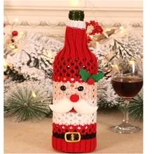 Милая Рождественская Снежинка льняная крышка для бутылки с красным вином сумки Рождественский Декор стола рождественские украшения для домашних держателей Рождество год