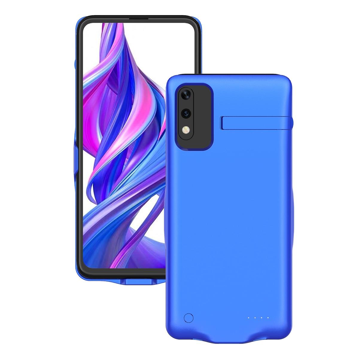 Для Huawei Honor 9X6500 мАч чехол для зарядного устройства Расширенный аккумулятор запасная Мощность Защитный чехол противоударный задний Чехол бант Funda - Цвет: Синий