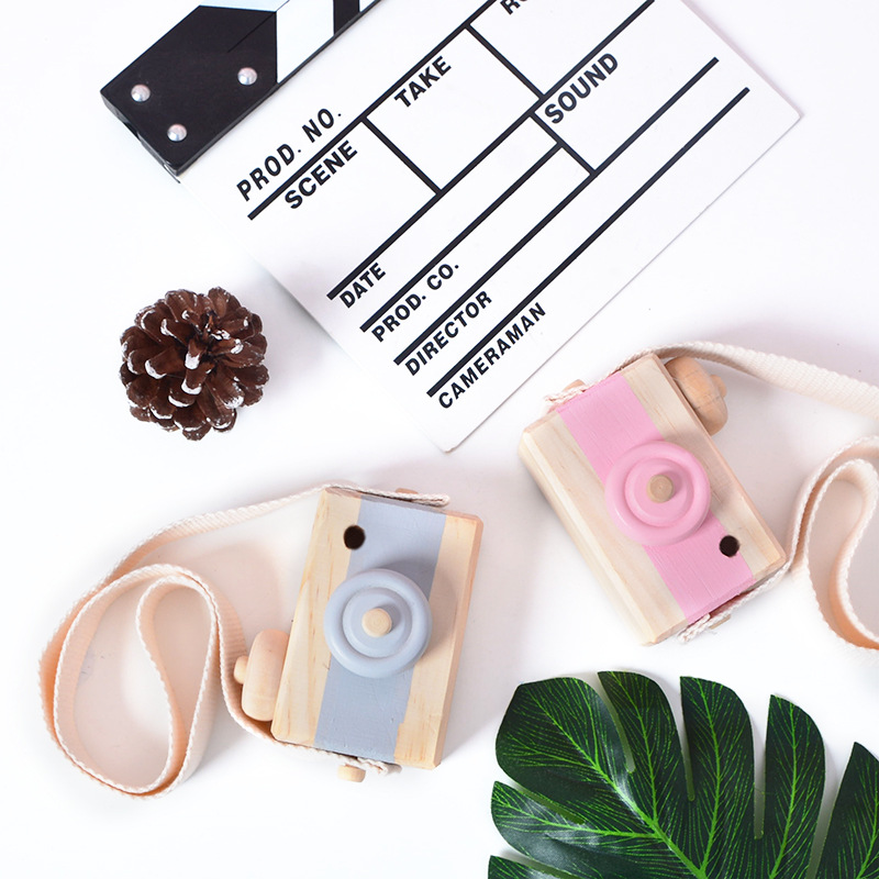 9*6*3.5CM Ins Hanging Wooden Camera Toys Baby Natural Educational Toys Fashion Photography Prop Kids Fashion Clothing Accessory