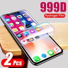 2 adet 999D hidrojel Film ekran koruyucu iPhone 12 11 Pro XS MAX XR X kapak koruyucu Film için iPhone SE 2020 7 8 artı filmi