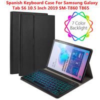 Colorful Backlit Spanish Keyboard Case For Samsung Galaxy Tab S6 10.5 Inch 2019 T860 T865 Case Flip Stand Keyboard Leather Case