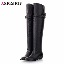 купить SARAIRIS Plus Size 34-48 Casual Ladies Over The Knee Boots Women Buckle Winter Warm Fur Thigh High Boots Low Heels Shoes Woman по цене 1442.66 рублей