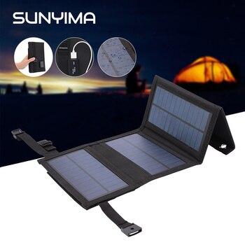 SUNYIMA, 5,5 V, 10W, Panel Solar portátil, plegable, bolsa de paneles solares para teléfono, batería, Banco de energía móvil con puerto USB de 5V