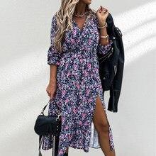 Saldi primavera scollo a V abito lungo con stampa floreale donna 2021 Casual manica lunga abito diviso Beach Boho Maxi abiti da festa