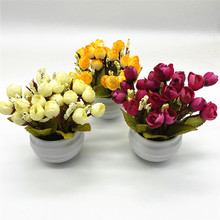 Silk Rose Flower Artificial Bonsai Fake Green Leaves Plants With Pot Home Wedding Festival Decor