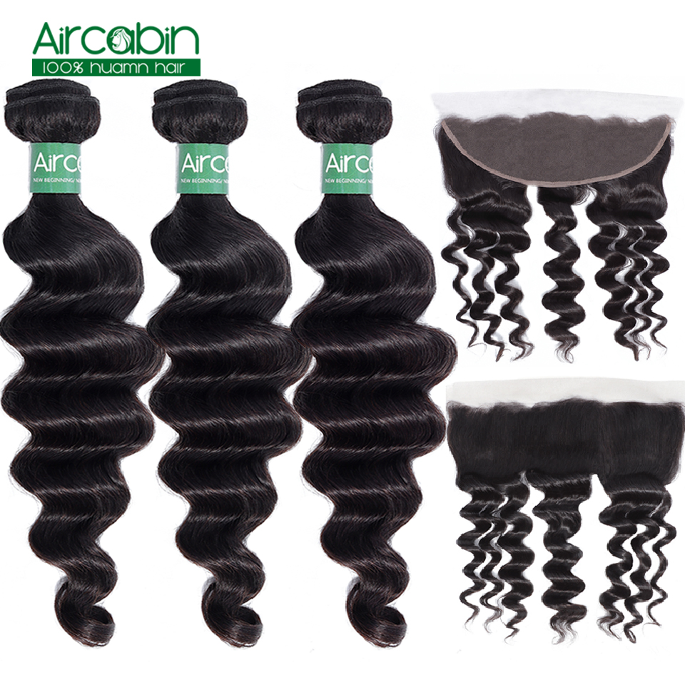 Aircabin 3 / 4 Brazilian Loose Deep Wave Bundles With Frontal 100% Remy Human Hair Weave Bundles With Lace Closure Can Be Dyed