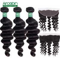 Aircabin-mechones de pelo humano ondulado, suelto, brasileño, con Frontal 100%, Remy, Se puede teñir, 3 / 4 unidades