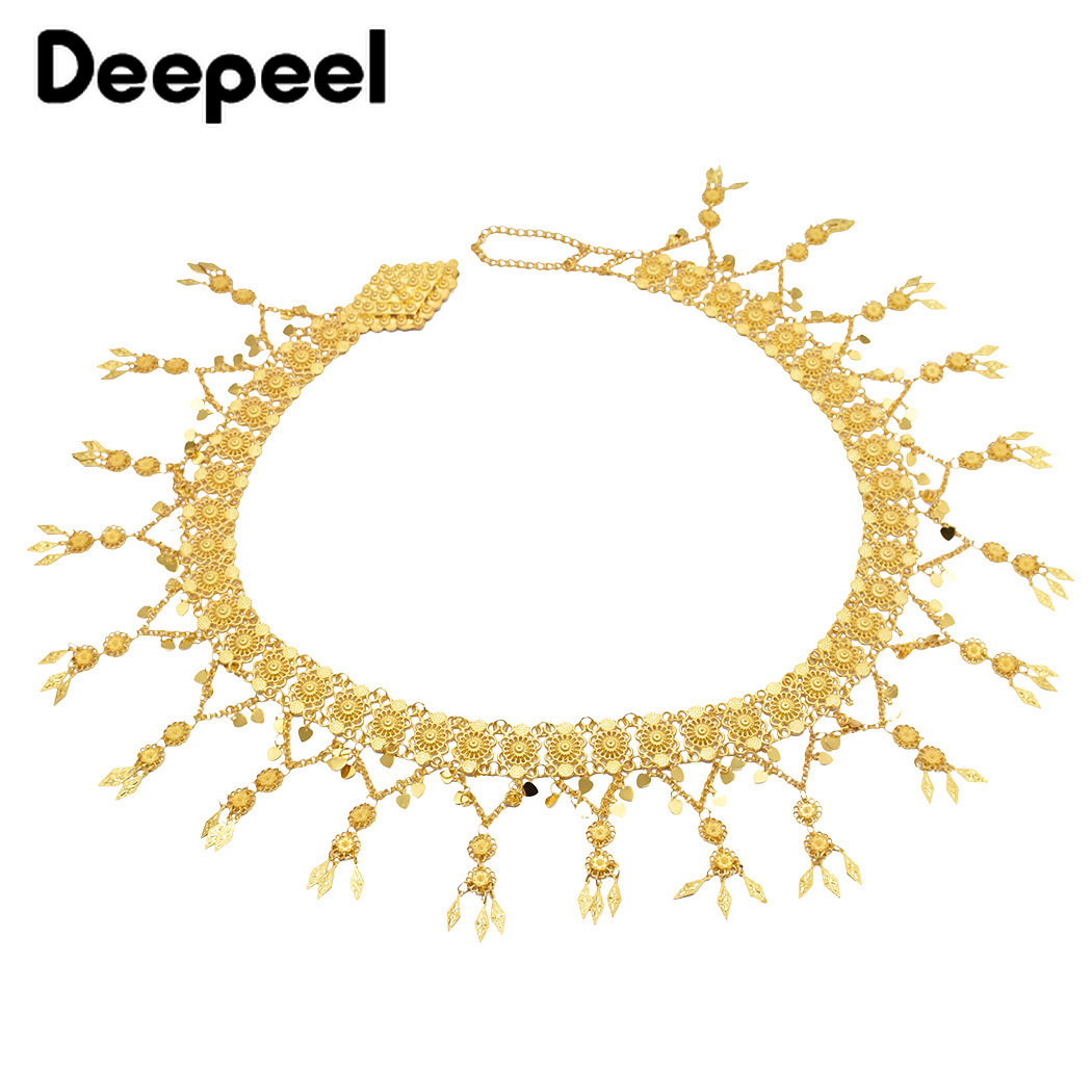 Deepeel 1pc 11.5*110cm Women Metal Tassel Wide Cummerbunds Gold Silver Flower Pendant  Girdle Belly Dance Chain Of Girls CB661