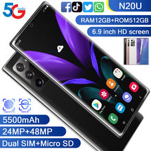 Gálxy n20u smartphone fullscreen 8-core 256 gb android 10 snapdragon 865 + dedo face id câmera dupla 4g telefone celular inteligente