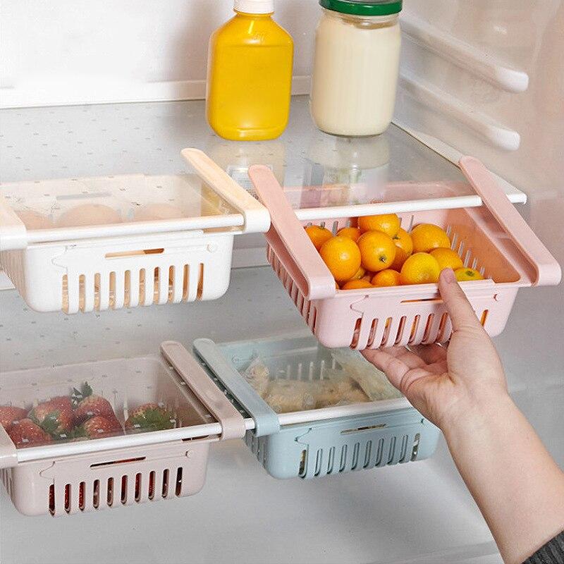 حديثا قابل للسحب درج نوع الثلاجة صندوق حاوية الغذاء الفاكهة سلة تنظيمية للأدوات علب تخزين الثلاجة TE889