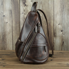 Genuine Leather Men's Sling Chest Bag Casual Handmade Crossbody Bag