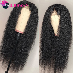 Silkswan Hair Jerry Curly 13x4 Lace Front Wigs 150% Density 20 22 inches Pre-plucked Natural Baby Hair Brazilian Human Hair