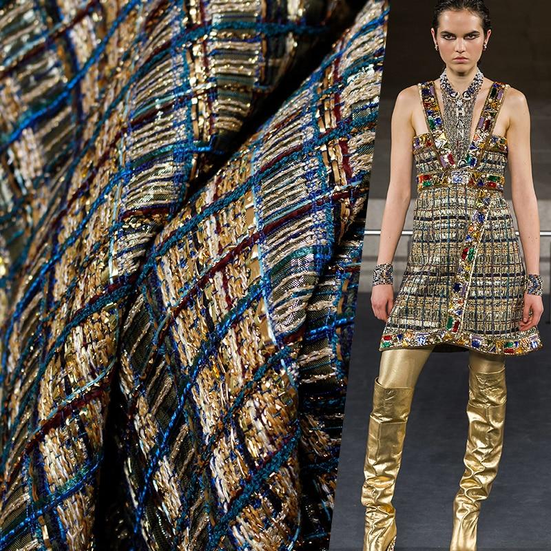 Le tissu France barre d'or Tweed tissus automne veste robe costumes vêtements matériaux Textile le mètre de tissu à coudre livraison gratuite