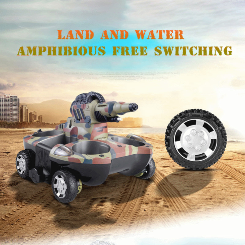 RC Tank Toy Amphibious Remote Control Tank Children's Electronic Remote Control Car Charging Water Spray Water RC Car Child Toy