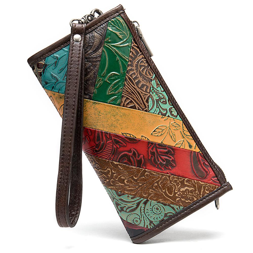 Оригинальный ретро Новый Ручная роспись женский кошелек кожаный женский длинный кошелек - 3