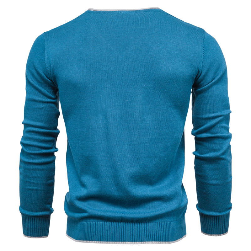 2020 New 100% Cotton Pullover V-neck Men's Sweater Solid Color Long Sleeve Autumn Slim Sweaters Men Casual Pull Men Clothing 4