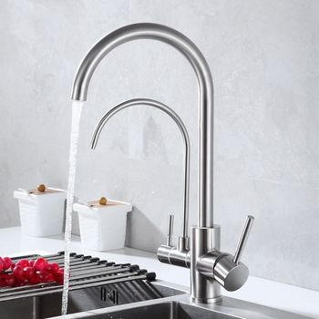 Stainless Stainless Steel Faucet with Clean Water Brushed Kitchen Hot and Cold Rotating Pure Sink Dual-Use Straight Drink Three